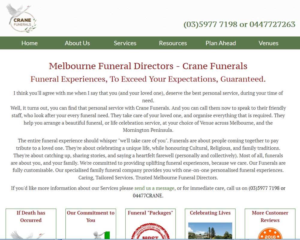 crane-funerals aaa web design bundoora